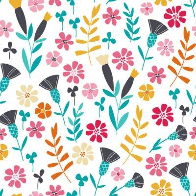 Posters Seamless, clair, scandinave, floral, modèle