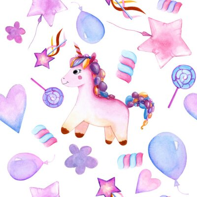 Posters seamless design. unicorn. Balloons. candy on a stick. marshmallows. flower. magic wand star. watercolor. happy Birthday