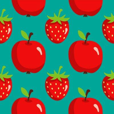 Posters Seamless, modèle, fraises, pommes