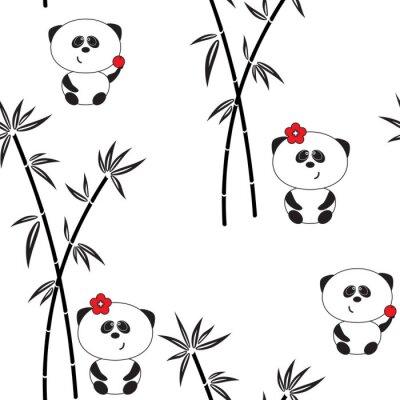 Posters Seamless, modèle, vecteur, Illustration, rigolote, panda