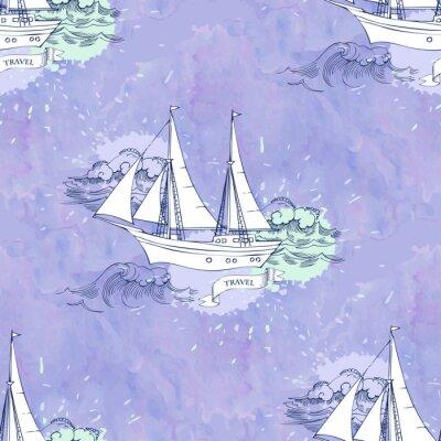 Posters Seamless, patt, vagues, bateaux