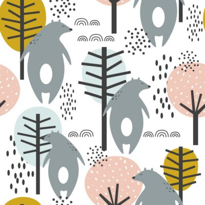 Posters Seamless pattern, bears and trees, hand drawn overlapping backdrop. Colorful background vector. Illustration with animals. Decorative wallpaper, good for printing