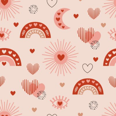 Posters seamless pattern with love boho sun, rainbow, moon