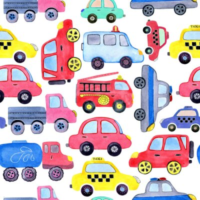 Posters Seamless pattern with watercolor cartoon cars and spare parts. Design of children's clothing, wallpaper, packaging, background, wall