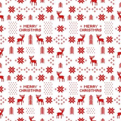 Posters Seamless, retro, rouge, noël, modèle, cerfs, arbres, Snowflakes