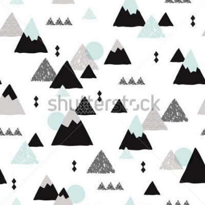 Posters Seamless winter wonderland geometric japanese fuji mountain theme illustration triangle abstract landscape background pattern in vector