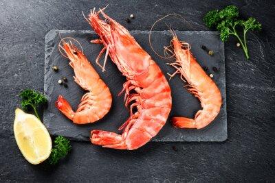 Posters Sélection, jumbo, crevettes, dîner, pierre, plaque