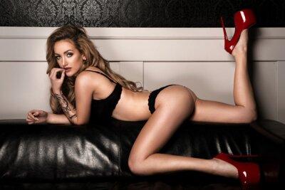 Posters Sensuel, femme, parfait, mince, corps, poser, lingerie