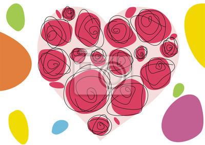 SERCE z róż na białym tle