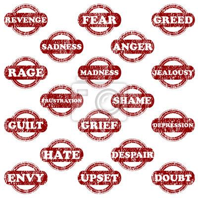 Set de tampons en caoutchouc avec des émotions négatives