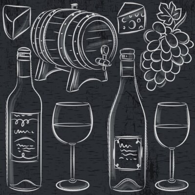 Posters Set de verre et de bouteilles pour le vin sur le tableau noir, vecteur
