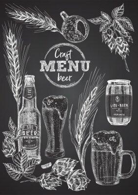 Posters Set hand drawn sketch bottle and glasses beer, hop, wheat Vintage design bar, restaurant, cafe menu on on black chalk board background. Graphic vector art Template for flyer, banner, poster
