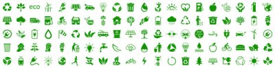 Posters Set of 100 ecology icons. Eco green signs. Nature symbol – stock vector