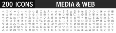 Posters Set of 200 Media and Web icons in line style. Data analytics, Digital marketing, Management, Message, Phone. Vector illustration.