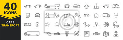 Posters Set of 40 Cars and transport web icons in line style. Airplane, bus, parking, travel, train, comfortable. Vector illustration.