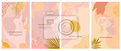 Posters Set of abstract background with tropical elements, shapes and girl portrait in one line style. Background for mobile app page minimalistic style. Vector illustration