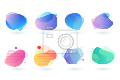Posters Set of abstract graphic design elements. Vector illustrations for logo design, website development, flyer and presentation, background, cover design, isolated on white.