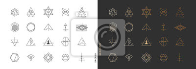 Posters Set of abstract sacred geometry symbol vector elements template, clean minimal geometric logo collection