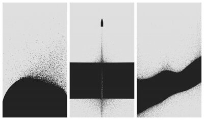 Posters Set of black and white backgrounds with dust explosion and particle spraying