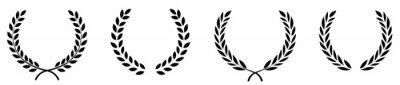 Posters Set of black circular foliate laurels branches.Laurel wreath.Silhouette laurel wreath. Heraldic trophy crest, Greek and Roman olive branch award, winner round emblem. Vector black laurels set
