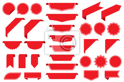 Posters Set of blank labels in red isolated on white background. Ribbon set. Sticker set. Vector illustration