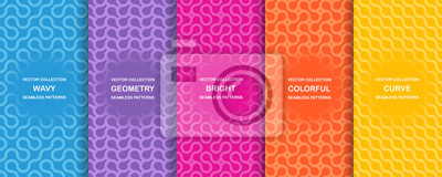 Posters Set of bright vector colorful seamless geometric wavy patterns - creative design. Vibrant curly backgrounds, endless curve textures