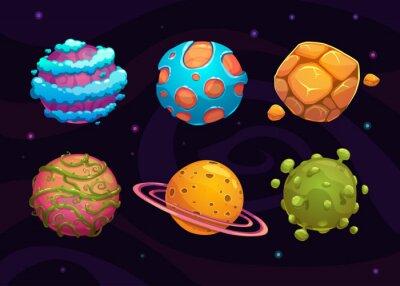 Posters Set of cartoon fantasy planet