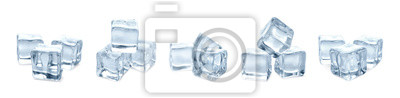 Posters Set of crystal clear ice cubes on white background
