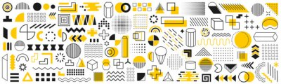 Posters Set of geometric shapes. Memphis design retro elements. Collection trendy halftone geometric shapes. Retro funky graphic, 90s trends designs and vintage print element collection – vector