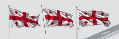 Posters Set of Georgia waving flag on isolated background vector illustration