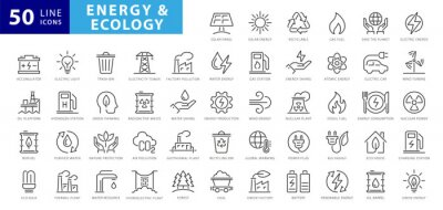 Posters Set of green energy thin line icons. Icons for renewable energy, green technology. Design elements for you projects. Vector illustration
