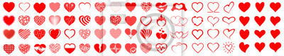 Posters Set of hearts icon, heart drawn hand - stock vector
