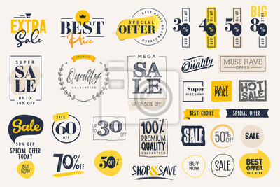 Posters Set of labels and stickers for sale, product promotion, special offer, shopping, e-commerce. Isolated vector illustrations for web design and marketing material.