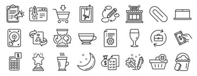 Posters Set of line icons, such as Moon stars, Winner, Hdd icons. Human resources, Technical algorithm, Window cleaning signs. Calculator, Megaphone checklist, Pay money. Paper clip, Beer glass. Vector