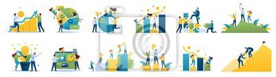 Posters Set of mini business concepts of entrepreneurs. Concepts for web design