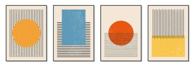 Posters Set of minimal 20s geometric design posters, vector template with primitive shapes elements