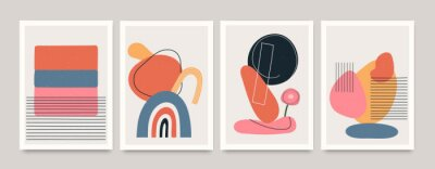 Posters Set of minimalistic geometric art posters with elements of geometric shapes and lines. Modern contemporary creative trendy abstract templates vector illustration.