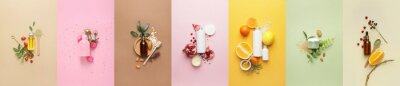 Posters Set of natural cosmetic products on color background
