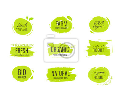 Posters set of Organic label and natural label hand drawn brush. Tag and Sticker Farm fresh logo vegan food mark.