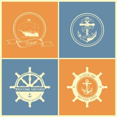 Posters Set Of Rétro badges et étiquettes nautiques