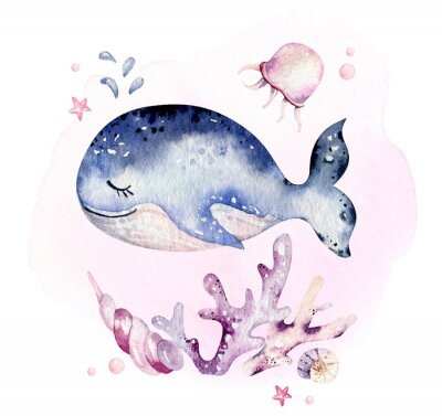 Posters Set of sea animals. Blue watercolor ocean fish, turtle, whale and coral. Shell aquarium background. Nautical marine hand painted illustration.