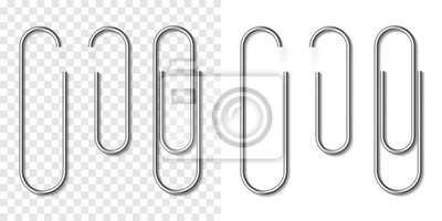 Posters Set of silver metallic realistic paper clip