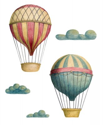 Posters Set of steampunk elements - air balloons and clouds. Hand drawn colored pencils illustration.