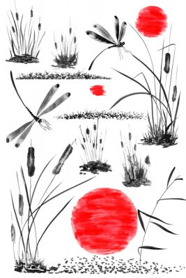 Posters Set of sun,   bulrush, grass and dragonflies.  Watercolor and ink illustration in style sumi-e, u-sin, go-hua. Oriental traditional painting. Isolated .