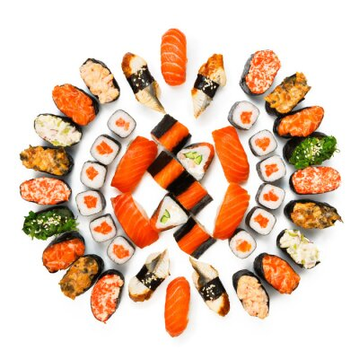 Posters Set of sushi, maki, gunkan and rolls isolated at white