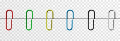 Posters Set of vector paper clips on isolated transparent background. Attached paper clip. Metal paper clip png.