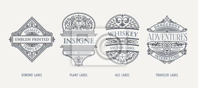 Posters Set of Vintage beer frames and labels. Craft premium logos. Design emblems on transparent background