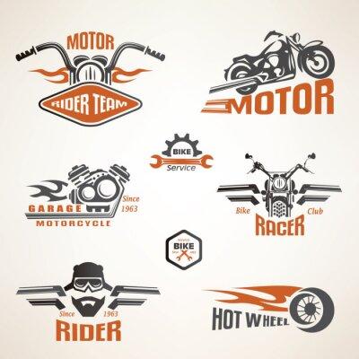 Posters Set of vintage motorcycle labels, badges and design elements