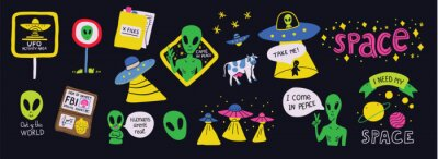 Posters Set on a space theme with humorous ufo signs