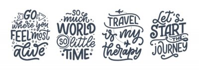 Posters Set with travel life style inspiration quotes, hand drawn lettering posters. Motivational typography for prints. Calligraphy graphic design element. Vector illustration